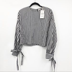 Zara Trafaluc Checker board crop long sleeve top